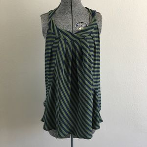 Bellatrix Green and Navy Striped Top